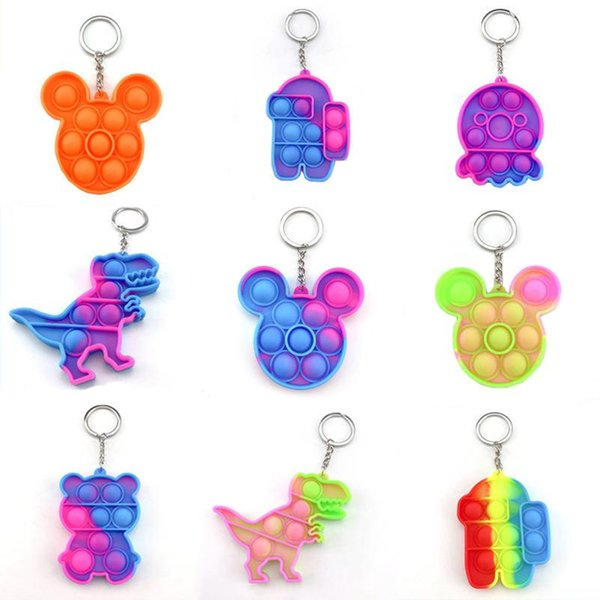 best selling Fidget Pop it Toy Sensory key Chains Push Poo its Bubble Poppers Cartoon Simple Dimple toys Keychain Stress Reliever
