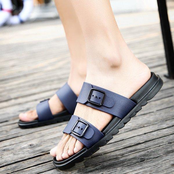 Summer Blue Men Slippers Casual Non-Slip Rubber Men Flip Flops Outdoor Beach Sandals Slippers Beach Shoes Zapatillas Casa Hombre