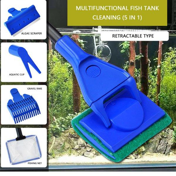 5 in 1 Aquarium Cleaning Tools Tank Clean Set Fish Net Gravel Rake Algae Scraper Fork Sponge Brush Curve Glass Window Durable