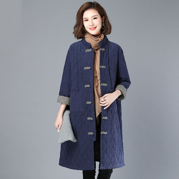 Traditional Chinese Style Clothing Women Coats Winter Long Jackets Corduroy Cotton Robe Vintage Femme Han Chinese Clothing 11730 Apparel Ethnic Clothing DIY Clothing Mens Clothing Womens Clothing