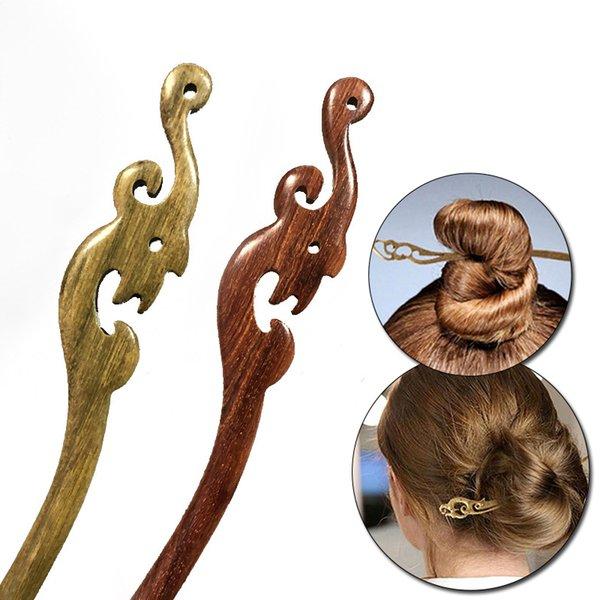 Vintage Style Black Sandalwood Hair Pins Hair Sticks Women Wood Hairpin Headwear Headpiece Fashion Jewelry Hair Accessories