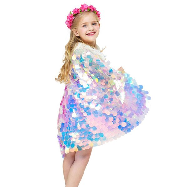 best selling Baby Girls Princess Cloak Cute Mermaid Cape Shine Sequins Manteau Halloween Party Peform Costume Kids Girls Cosplay Props 1-8T 04