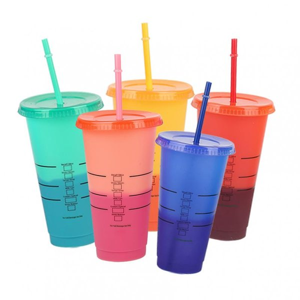 Color-changing coffee cup with straw cup with lid and logo reusable cup temperature sensing mug tea set
