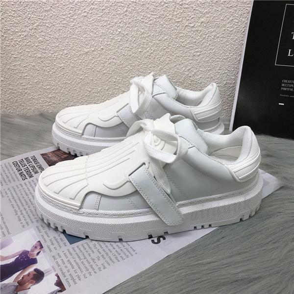 top popular [With box]2021 Spring summer shell head cowhide casual shoes joker thick-soled increase leisure sports size 35-40#785 2021