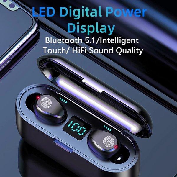 top popular F9 Wireless Bluetooth 5.1 Earphone TWS HIFI Mini In-ear Sports Running Headset Support Smart Phones HD Call 2021