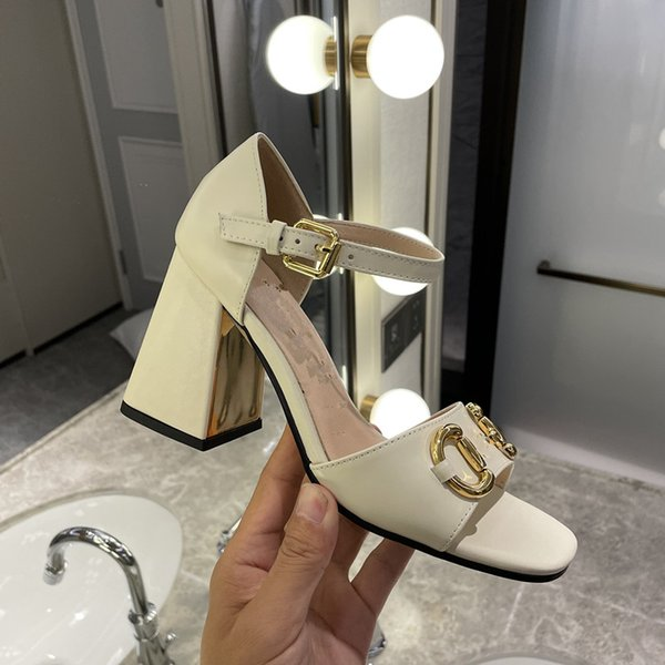 best selling 2021 Top Quality Luxury Designer Latest Fashion Sandals leather For Women High Heels Chunky Heel Metal Buckle Strap Ankle Wrap Open Toe Outdoor Party Banquet Slide