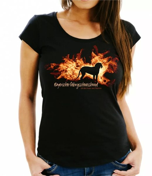 Ladies T-Shirt Bavarian Mountain Welding Dog Fire and Flame by siviwonder Dog