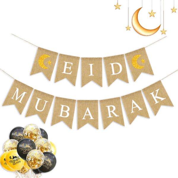 best selling 1 Set Muslim Party Decorations Hanging Streamers Eid Mubarak Supplies Ramadan Festival Banner Pull Flag