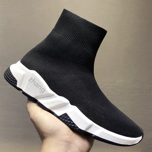 top popular 2021Top Quality Black White Speed Trainer Casual Shoes Man Woman Socks Boots With Box Stretch-Knit Race Runner Sneakers 2021