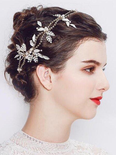 Wedding Leaf Headpiece Women Rhinestone Headband Gold Hair Piece Bridal Leaf Crown Hair Accessories