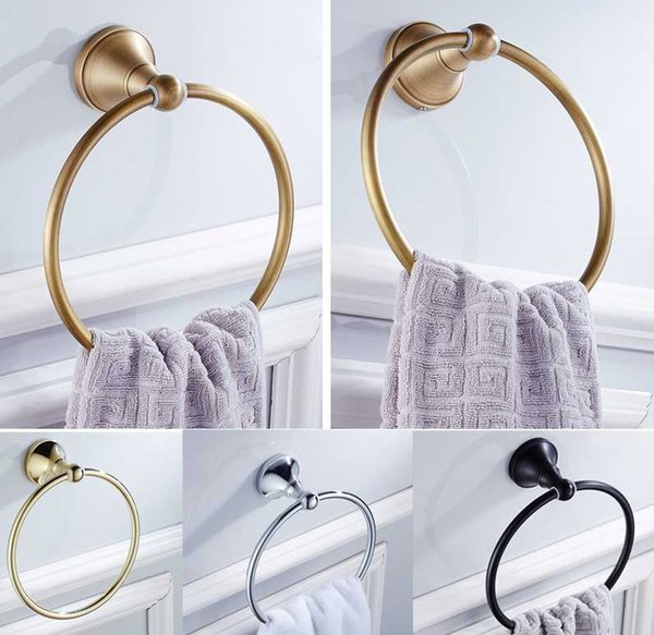 best selling Hand Towel Ring Holder Black White Wall Mounted Bathroom Accessories Antique Bronze Round Hanging Chrome Hanger Gold Rings