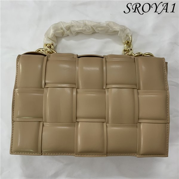 top popular Thick chain handbag 2021 woven soft leather diagonal one-shoulder small square bag 2021