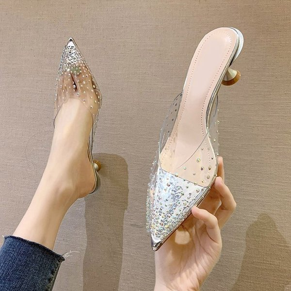 Women Slippers Fashion Slides Summer Sandals Ladies Pointed Toe Shoes Transparent Woman High Heels Female Pumps New Footwear