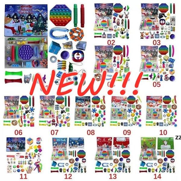 best selling 2021 Christmas Fidget Toy Advent Calendar Set December 24 days Push Bubble 24pcs Set Silicone Stress Reliever Sensory Toy Tiktok