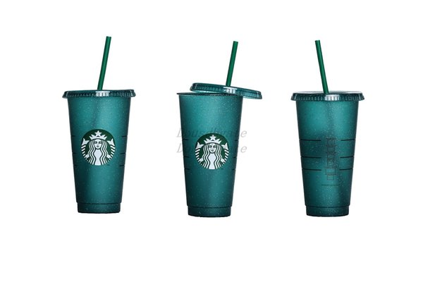 LM Starbucks plastic cup flash cup 24OZ/710ML transparent color changing cup plastic beverage juice with lip straw magic coffee custom 50pcs
