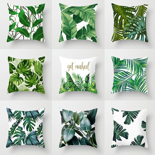 Tropical Plants Cushion Cover Palm Leaf Green Leaves Monstera Hibiscus Flower Decorative Pillow Case Poly Cushion Covers