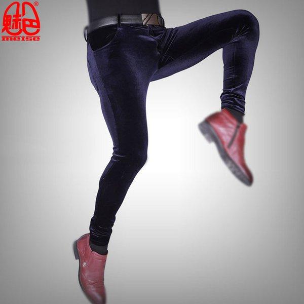 Original Korean Mens Autumn Winter Warm Flocking Tight Leggings Hairstylist Slim Straight Fad Feet Pants Skinny Pencil Trousers