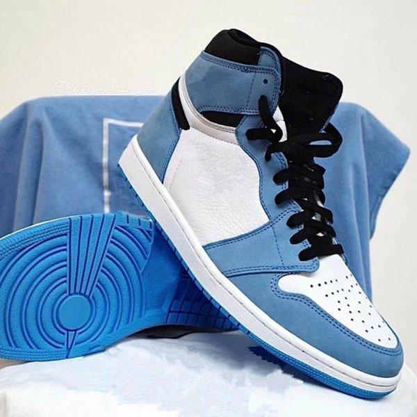 Jumpman 1 Low UNC Designer Shoes University Blue White Fashion Sneakers Ship With Box