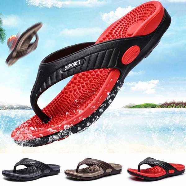 SAGACE Summer Fashion Men Massage Slippers Big Size Non Slip Flip Flops For Male 2020 Newest Beach Shoes Sandals A8 l5rO#