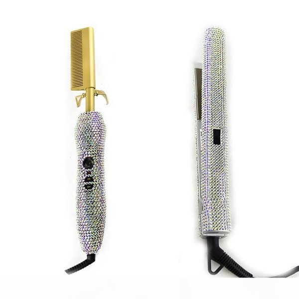 best selling Crystal Hair Straighter Flat Iron and Crystal Hot Combs Diamonds Hair Weave brush Hair Boutique Fast Shipping