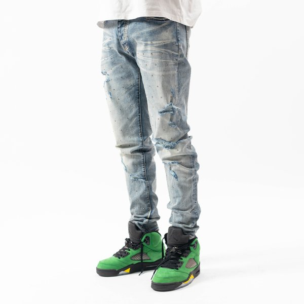 American High Street Brand Amir Stretchy Ripped Washed Man Pants Streetwear Slim Mens Jeans Trousers Mens Clothing Mens Clothing Mens Pants Apparel Mens Jeans