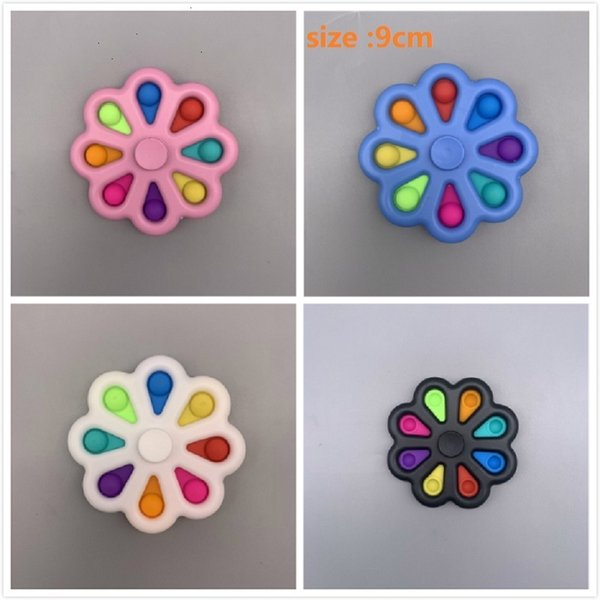 top popular 9CM Flower Shape Stress Relief Sensory Fidget Bubble Toys Push Simple Key Ring Squeeze Finger Fun Keychain Unicorm Bubbles Board 2021