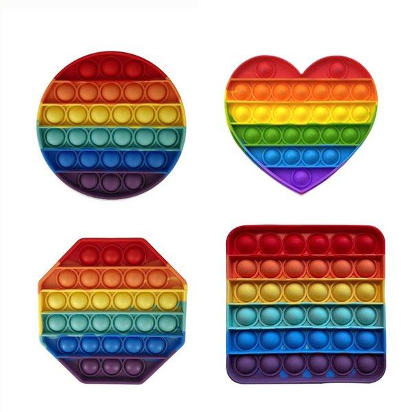 best selling Colorful Push Pops Fidget Bubble Toys Sensory Squishy Stress Reliever Autism Needs Anti-stress Pop It Rainbow For Kids Children