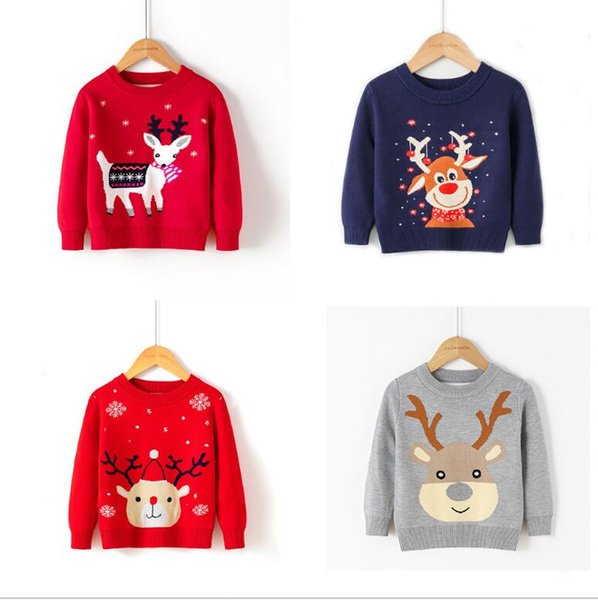 top popular Boys Girls Sweaters New Autumn&Winter Children Pullover Clothing Outerwear Cute Christmas Deer Kids Knitwear For 2-6Y 2021