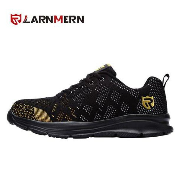 LARNMER new light breathable safety shoes men's steel toe work shoes, men's impact-resistant construction reflective sneakers,