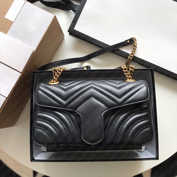 Designer brand marrmon black cowhide Hearts Quilted chain flap bag women large 26cm with date code top quality Leather 7 colors shoulder bags