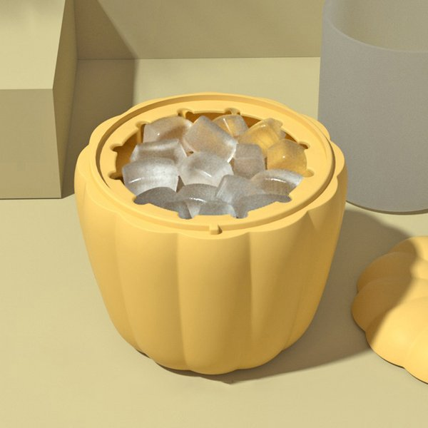 New Silicone Ice Bucket for Whiskey Wine Cocktail Party Barware Lid Pumpkin Shaped Cube Maker Mold ice tray DIY Kitchen Supplies