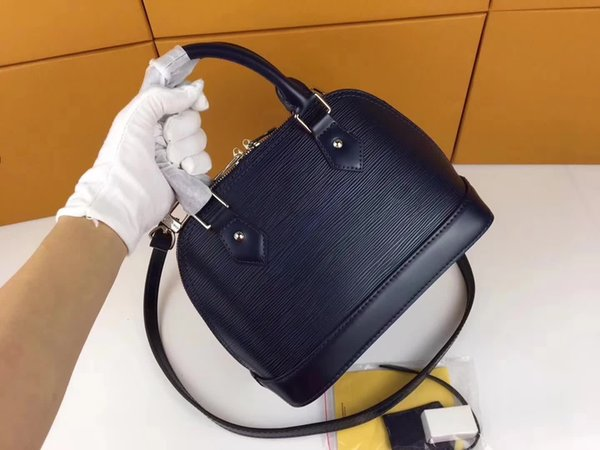 best selling Designer-women handbags High quality genuine leather bags 7 color water ripple Shoulder Bag ALMA PM small patent hand shell tote