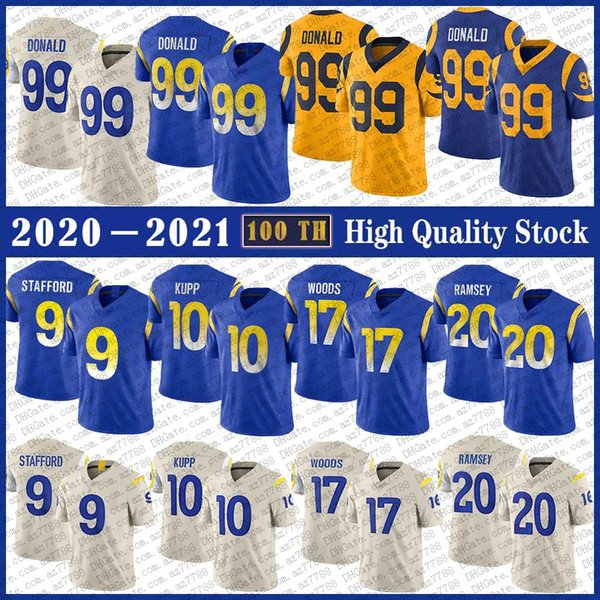 top popular 9 Matthew Stafford LA Football Jersey 99 Aaron Donald 10 Cooper Kupp 17 Robert Woods 20 Jalen Ramsey 16 Jared Goff High quality Stitched jerseys 2021