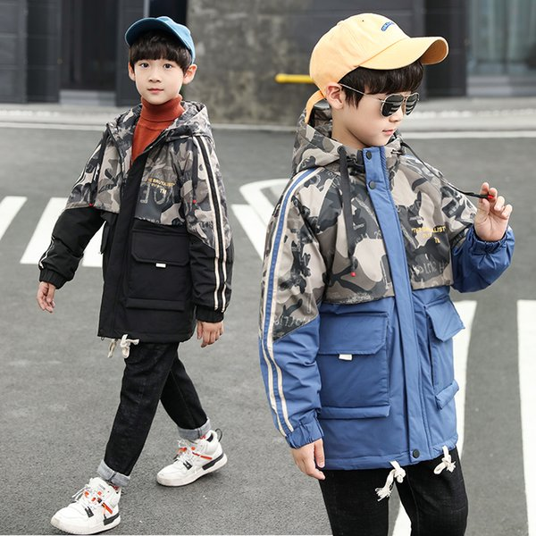 Boys winter coat Camouflage stitching thick plush lining trench coat 3-13 years old Letter Hooded Winter Wear kids winter jacket