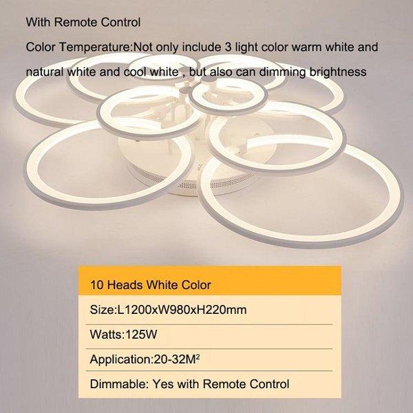 10 cabezas modelo antiguo color blanco regulable