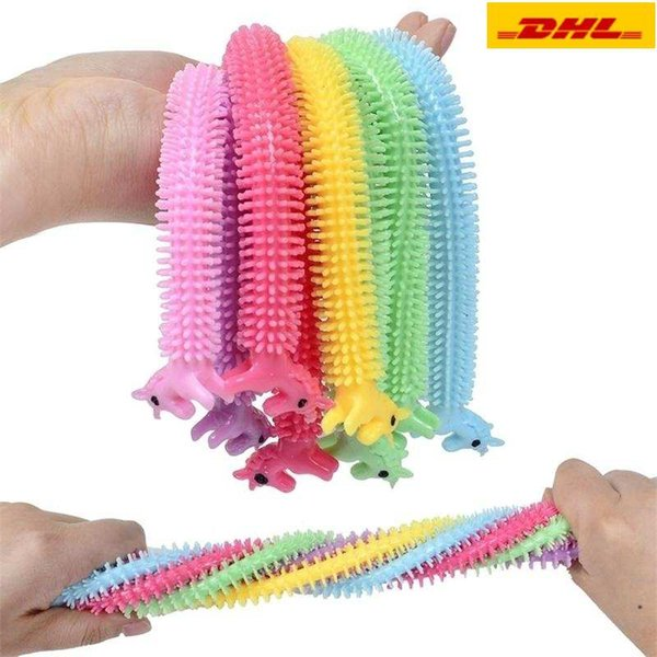 best selling Favors DHL 3-7 delivery Fidget Sensory Toy Noodle Rope TPR Stress Reliever Toys Unicorn Malala Le Decompression Pull Ropes Stress Anxiety Relief Toys For Kids
