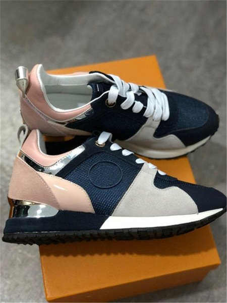 top popular [With box]2021 Luxury leather casual shoes Top Quality Women men Mesh Mixed Color original fashion Trainer Runner sneakers size 35-44 2021