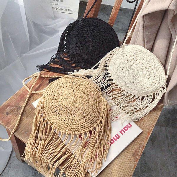 Round Straw Bag Tassel cotton Summer Boho Beach Crossbody Bag for Women Fashion Holiday Beach Woven Rattan Messenger Bag Handbag
