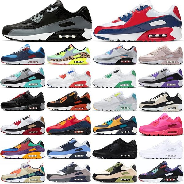 90 running shoes 90s men women triple black white red UNC USA Supernova Camo Volt Mixtape Bred Infrared mens trainers sports sneakers 36-45