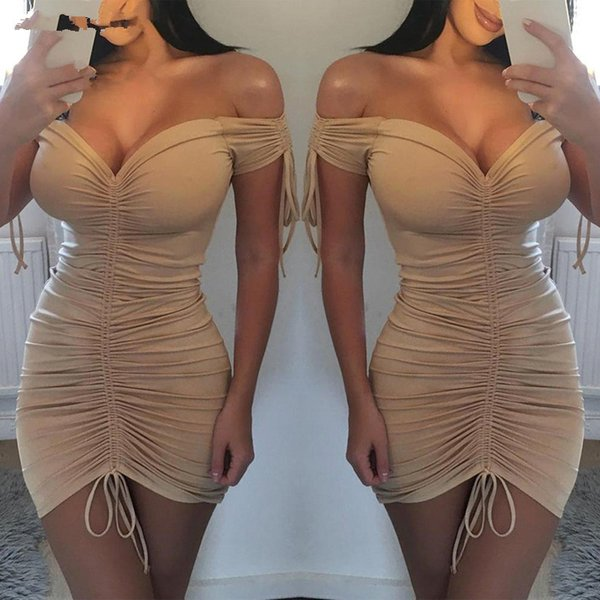 best selling UK Women Bodycon Pencil Dress Ladies Clubwear Mini Dress Women Summer Sexy Polyester V-neck Dresses