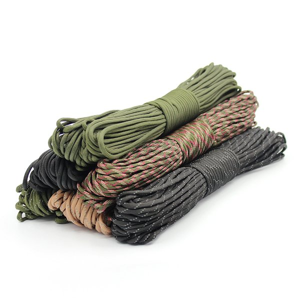best selling Climbing Camping Ropes 4 Size Dia.4mm 9 stand Rope Paracord for Survival Parachute Cord Lanyard Hiking Clothesline