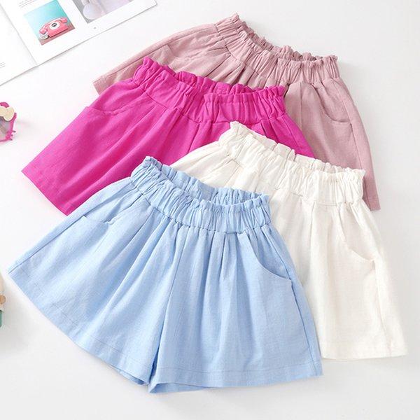 best selling Ambergen 2021 New Cotton Hemp Girls' Shorts Summer Hot Korean Leisure Sports Children's Beach Pants