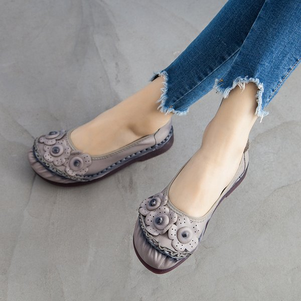Genuine Leather Flats Shoes Women Slip On Loafers Flower Casual Shoes Female 2021 Spring New Womens Summer Flats Leather Shoes