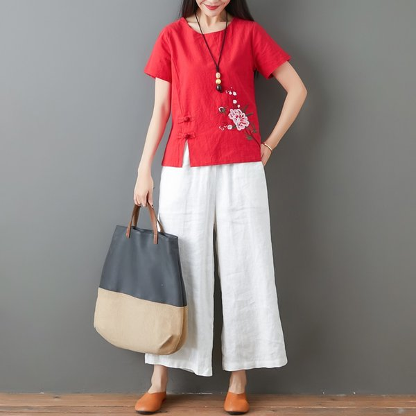 Ladies Chinese Tops Women 2021 Summer Traditional Chinese Clothing Embroider Vintage T Shirt Chinese Style Clothing Women 11794 Apparel Ethnic Clothing DIY Clothing Mens Clothing Womens Clothing