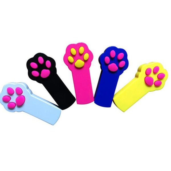 top popular Cat Footprint Shape LED Light Laser Toys Tease Funny Cats Rods Pet Toy Creative 5 Colors 2021