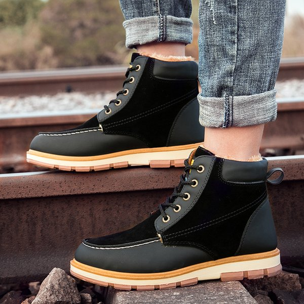 Mens Winter Boots Warm Plush Mens Snow Boots High Quality Leather Waterproof Men Sneakers Outdoor Men Hiking Boots Work Shoes