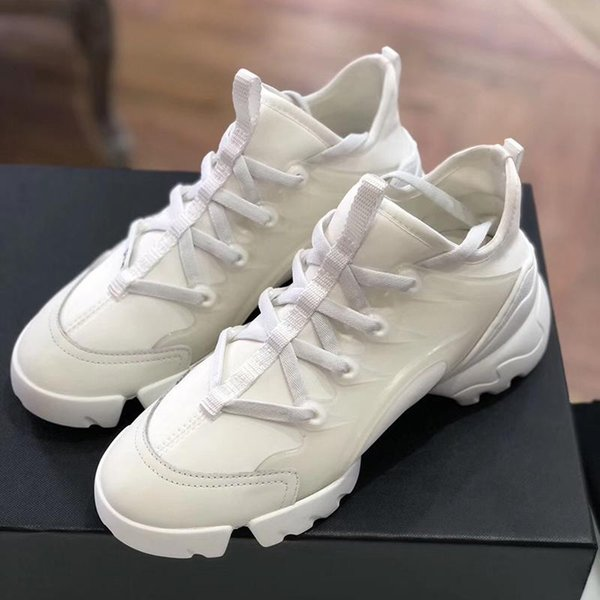 top popular [With box]2021 Luxury fashion designer womens Casual Dress Shoes neoprene Grosgrain Ribbon D-Connect Lady wrap-around Rubber sole Sneakers #489 2021