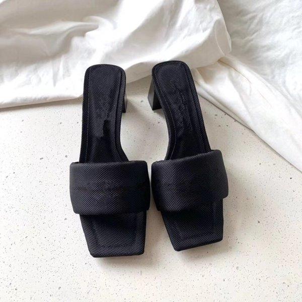 top popular slides sandals Designer heels womens square heel concise 5cm high women designers slippers sandal girl antiskid simple size 8.5 top quality fashion shoes wholesale 2021