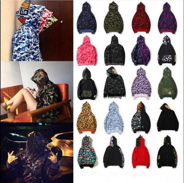 best selling Fashion mens stylist cartoon shark print camouflage hooded sweater womens hip hop large loose couples cardigan zipper shark head coat mens