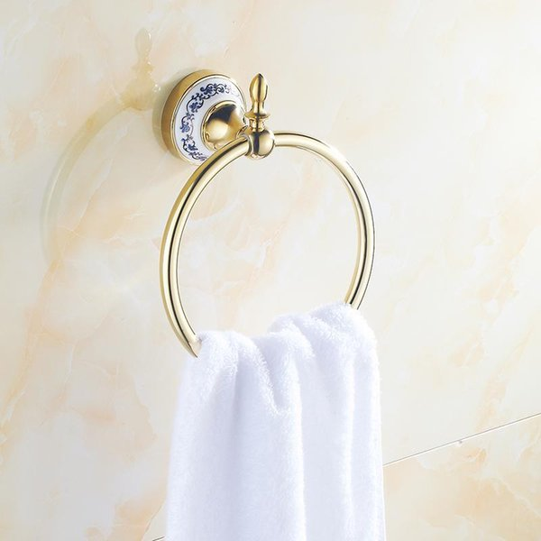 best selling Euro Style Towel Ring Diamond Gold Chrome Wall-Mounted Shelf Bathroom Accessories Rings